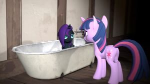Nyx\'s first bath by Elythespidermare