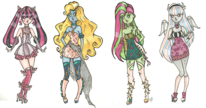 Monster High specialty dresses by Aii-Cute
