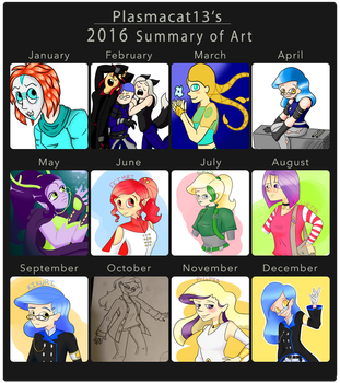 Plasmacat13's 2016 Summary of Art by Plasmacat13