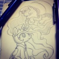 MLP: Chibi Princess Celestia + Chibi Princess Luna by mscherbear