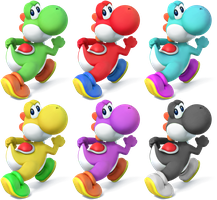 Yoshi SSB4 Recolors by shadowgarion