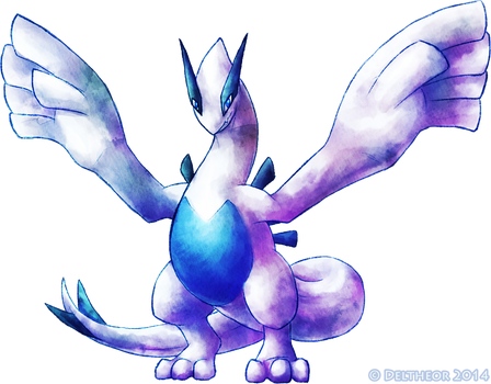 Lugia Watercolor by Deltheor