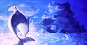 Sky Dolphins by E-Pendragon