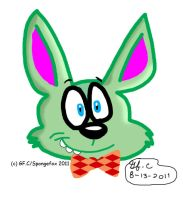 Green Bunny in orange bowtie by spongefox
