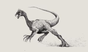Gallimimus runs for life by Zombiraptor