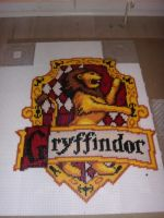 Gryffindor house emblem in perler by mininete