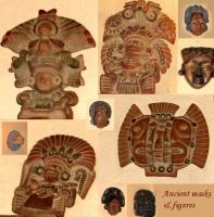 Ancient Masks and Figures by Comacold-stock