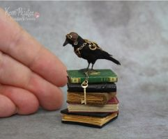 Miniature Steampunk Crow Sculpture by Pajutee