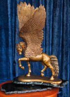 Winged Horse in Bronze by reedymanedkelpie