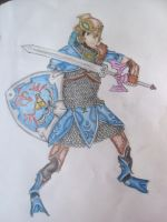 Link - Zora Armor Art Trade by baberscamille