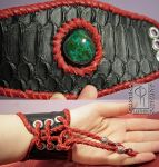 Black  Red Leather Cuff with Chrysocolla 1 by CRISTYNNA-NECROPOLIS