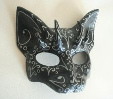 Silver and Black Cat Mask by nondecaf