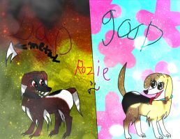 good and bad side of my dog (rozie) by shadowwolfydragon10