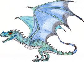 Blue Wyvern Hatchling by CrazyCrocuta