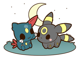 Umbreon and Sneasel by SeviYummy