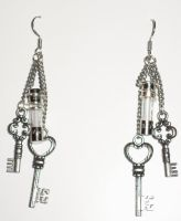 Steampunk ish earrings keys fuses by Ember-lacewing