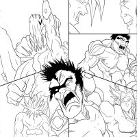 Hulk vs Broly Line Art by THEPRODIGYP5ART