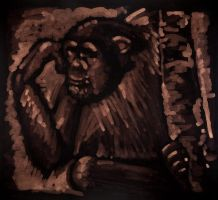 african chimpanzee by rapidograph