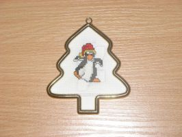 Cross stitch Christmas ornament penguin by Enithien