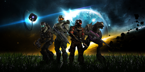 Halo and Dead Space crossover 4 Heroes by bulletreaper117