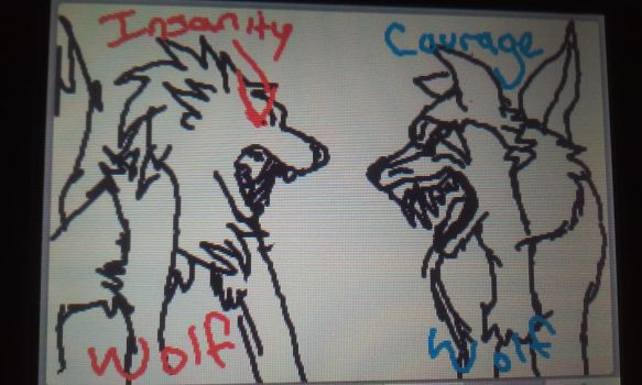 Courage Wolf and Insanity Wolf 3DS Drawing by xLinktheHerox
