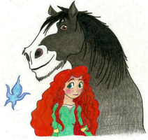Angus, Merida and Wisp by alexaAnime1