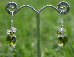 Swarovski Earrings: Olivine by Bria-Silivren