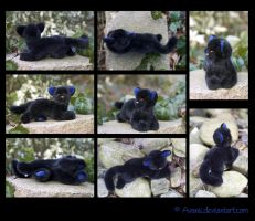 Plushie: Black Kitten Commission by Avanii