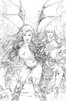Witchblade pinup pencils by gabrielguzman