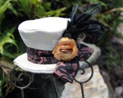 White Mini Top Hat with Golden Rose by spaceraptor