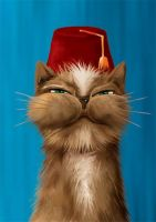 cat with fez by themanda