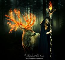 Enchantress and the Deer by thornevald