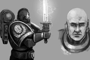 More 40k sketches: Ultramarines by FonteArt