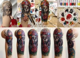 WIP - calavera tattoo by Loolooz