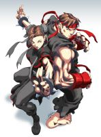 Evil Ryu and Chun Li by Jilted-Prodigy