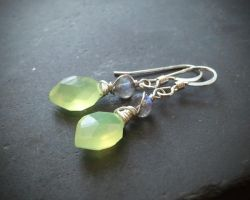 Elven Green Leaf Chalcedony, Labradorite Earrings by QuintessentialArts