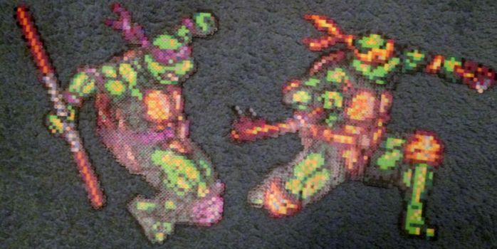 Donny and Mikey perlers by grumble-king2