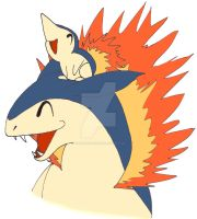 Cyndaquil and Typhlosion by Kaged-Wolves