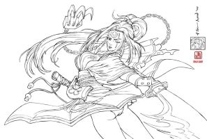 Guilty Gear's Baiken lineart by The-Hand