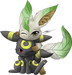 umbreon and leafeon by TheRealPhoenix