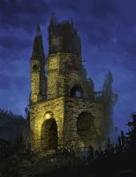 Creepy church ruin by Maximko