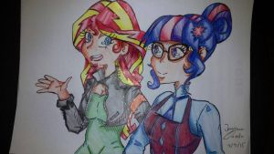 Sunset shimmer and Twilight by Rikkute98