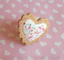 Frosted Heart Cookie Ring by CantankerousCupcake