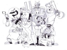 Team Flux's arch Nemesis Dr N Tropy and his Goons by BreakoutKid