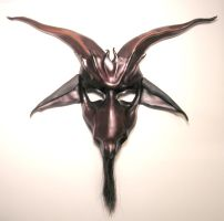 Baphomet Leather Mask dark red by teonova