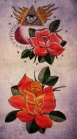 trad roses by rozeink