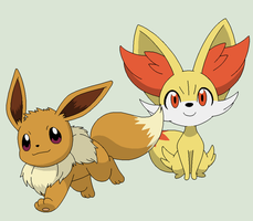 Pokemon Base 184~Eevee and Fennekin~ by Xbox-DS-Gameboy