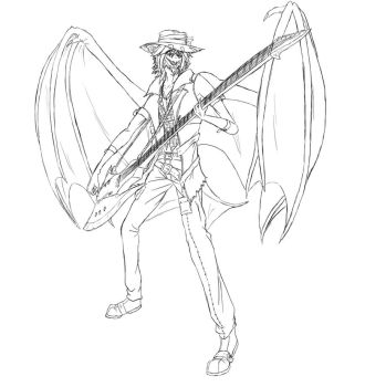 Guitar-Playing Nathaniel Scribble by Faullyn