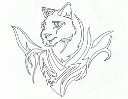 Tattoo- Lineart Tribal Panther by KarianaSan