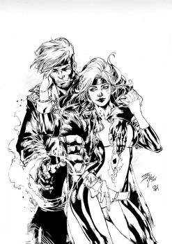 Gambit And Rogue by PsychedelicHeroin